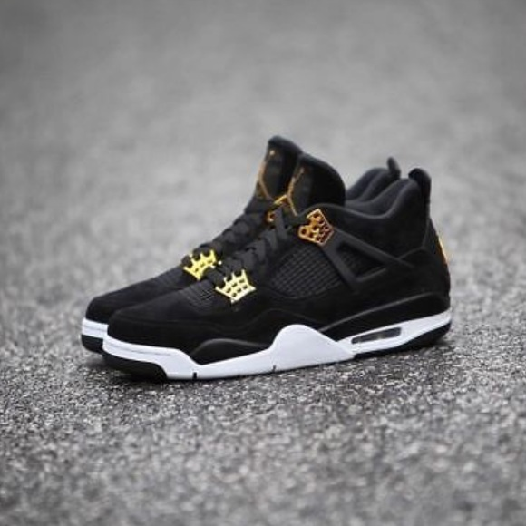 best sneakers c3ac9 a6c04 Nike air Jordan retro 4 black gold shoes